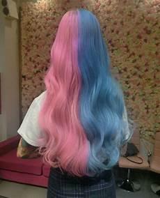 Half Pink Half Blue Half Blue Half Pink Hair Tumblr