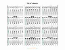 2020 Yearly Calendar Word Holidays Calendar