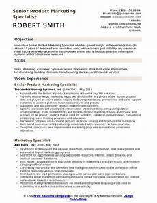 Marketing Specialist Resume Sample Product Marketing Specialist Resume Samples Qwikresume
