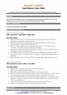 Crew Chief Resume Survey Crew Chief Resume Samples Qwikresume