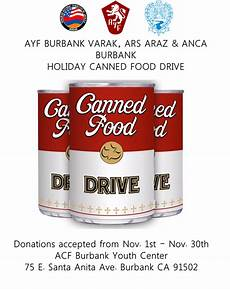 Can Food Drive Flyer Ayf Burbank Launches Canned Food Drive Asbarez Com