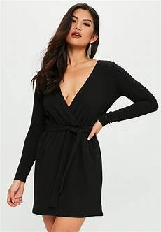 sleeve wrap dress of missguided synthetic black stretch sleeve plunge wrap