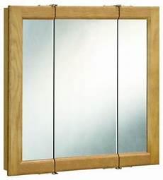 richland nutmeg oak tri view medicine cabinet mirror with