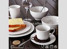 Durable Porcelain White Ceramic Dishes Set For Restaurant