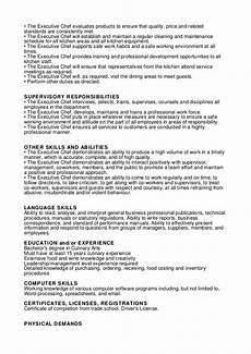 Executive Chef Job Description Sample Executive Chef Job Description