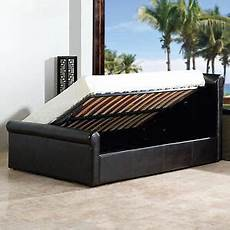 amazing faux leather side gas lift ottoman storage bed
