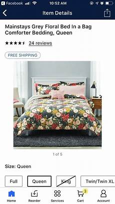 mainstays grey floral bed in a bag comforter bedding