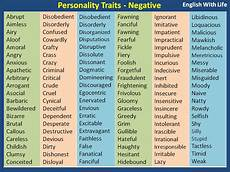 A List Of Characteristics Personality Traits Negative Materials For Learning English