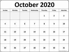 October Calendar October 2020 Calendar Free Printable Monthly Calendars