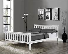 wooden bed frame white king single size solid pine