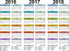 Multi Year Calendar 2016 2018 Three Year Calendar Free Printable Pdf Templates
