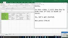 Blank Excel Hide Rows If Cell Is Blank In Excel Youtube