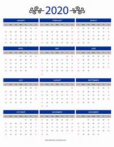 Free Printable Yearly Calendars 2020 12 Month Colorful Calendar For 2020 Free Printable Calendars
