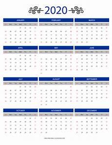 12 Months Calendar 2020 Printable 12 Month Colorful Calendar For 2020 Free Printable Calendars