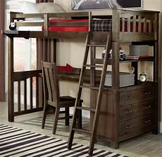 highlands espresso loft bed with desk and chair
