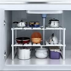 sink 2 tier expandable shelf organizer rack storage