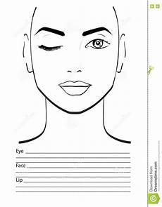 Brown Face Chart Blank Face Chart Makeup Artist Blank Stock Illustration