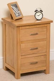 buy boston solid oak 3 drawer bedside table cabinet from