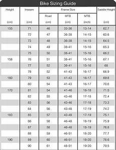 Sizes Of Bikes Chart Torpedo7 Sizing Information Chart