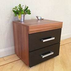 2 drawer black walnut bedside cabinet table bedroom