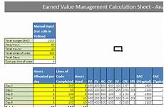 Evm Spreadsheet Evm Earned Value Analysis Calculation In Excel Example