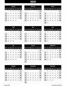 Yearly Calendar 2015 2020 2020 Download 2020 Yearly Calendar Mon Start Excel Template