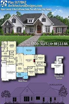 plan 51778hz open concept 4 bed craftsman home plan with