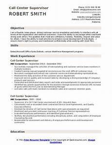 Objective Call Center Resume Call Center Supervisor Resume Samples Qwikresume