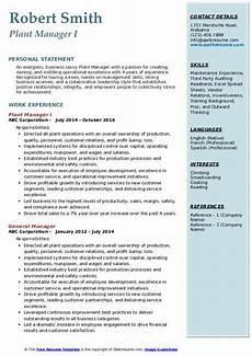Plant Manager Resume Plant Manager Resume Samples Qwikresume