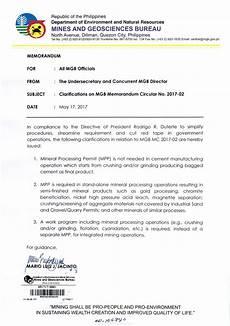 Samples Of Memorandum Clarifications On Mgb Memorandum Circular No 2017 02