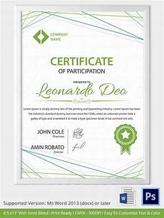 Sample Certificate Of Participation 33 Psd Certificate Templates Free Psd Format Download