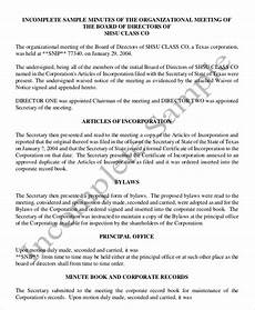 Sample Of Corporate Minutes 18 Corporate Minutes Template Free Sample Example