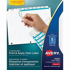 Avery Lable Maker Avery Index Maker Print Amp Apply Clear Label Dividers With