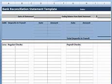 Account Reconciliation Template Excel Download Bank Reconciliation Statement Template Project