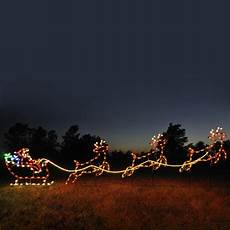 Lighted Santa Sleigh And Reindeer Outdoor Shop Holiday Lighting Specialists 4 75 Ft Santa Sleigh