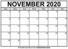 November 2020 Calendar Printable Printable November 2020 Calendar Templates 123calendars Com