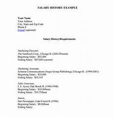 Salary History Template Hourly Free 5 Sample Salary History Templates In Pdf Ms Word