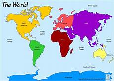 Continent World Map Continents And Oceans English Is Cool