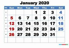 January 2020 Calendar Download Free Printable January 2020 Calendar Template Word Pdf