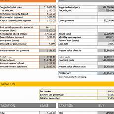 Buy Versus Lease Car Calculator Car Buy Vs Lease Calculator Excel Business Insights Group Ag