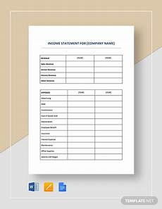 Income And Expenditure Statement Template Free Download Income Statement Template 23 Free Word Excel Pdf