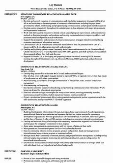 Employee Relations Manager Resume Samples Community Relations Manager Resume Samples Velvet Jobs