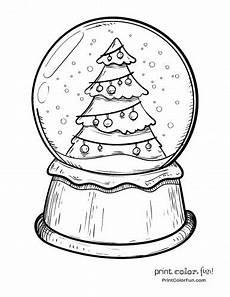 da lett schneekugel mit einem weihnachtsbaum malvorlagen print