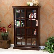 emerson sliding door media storage dvd cabinet glass