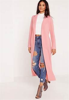 pink coats for duster lyst missguided sleeve maxi duster jacket pink in pink