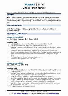 Resume For Forklift Operator Certified Forklift Operator Resume Samples Qwikresume