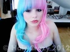 Half Pink Half Blue Half Pink Half Blue Hair Beutiful Emo Girls Hair All