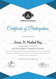 Free Certificates Of Participation Sample Certificate Of Participation Template In Psd Word