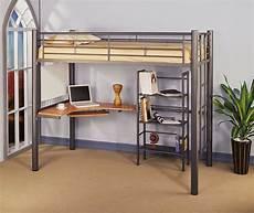 siver metal contemporary loft bed w desk bookcase