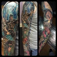 batman sleeve by chad miskimon tattoonow